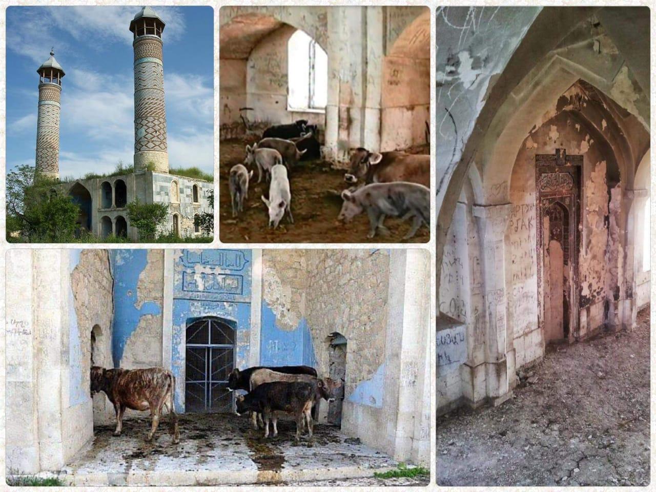 Masjid-masjid yang diserang oleh Armenia dalam kondisi setengah roboh dijadikan kandang Sapi dan Babi